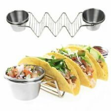 2Pack Taco Holder Stainless Steel-Taco Rack With 2Cups Metal Taco Stand Holders