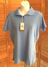 Antigua Women's Blue Pique Xtra-Lite Desert Dry Polo Shirt size Medium