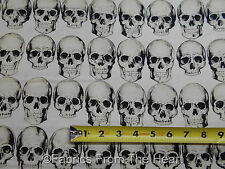 Rad Skulls Head Bones Gothic Biker White  BY YARDS Alexander Henry Cotton Fabric
