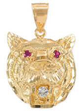 14k Yellow Gold Tiger Head Red CZ Pendant
