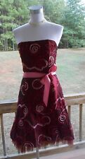 JESSICA MCCLINTOCK Strapless Ribbon Embroidered Tulle Cocktail Party Dress Sz 8