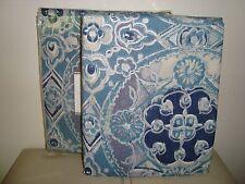 "Pottery Barn Jacquelyn Medallion Drapes  84""  BLUE  S/2   NEW"