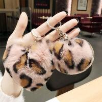 Faux Rabbit Fur Ball Key Chain Pom Leopard Plush Heart Keychain Car Bag KeyRing