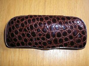Hessler genuine leather spectacle case - crocodile effect