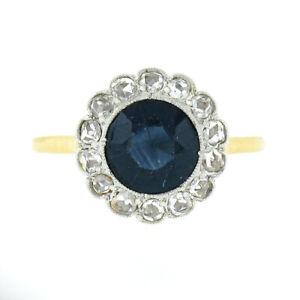 Antique 18K Gold Platinum GIA NO HEAT Australian Sapphire w/ Diamond Halo Ring