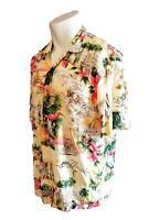 Paradise Found Hawaiian Mens Shirt 3XL Florida South Beach Flamingos Palm Trees