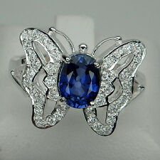 GRACEFUL! BLUE SAPPHIRE 1.55CT. & WHITE SAPPHIRE 925 SILVER BUTTERFLY RING #7.5