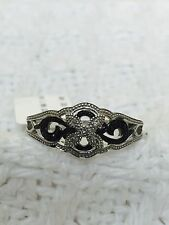 Womens New Genuine White and Black diamond 925 Sterling Silver Ring