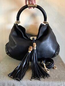 Gucci Large Guccissima Leather Indy Handbag Bamboo Tassel Brown Black 2 Way Hobo