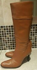 Nine West tacón alto cuero rodilla botas talla UK8