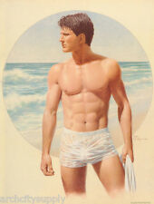 SMALL POSTER:SEXY MALE MODEL - STANDING BY OCEAN by NICK  BACKES - #P08 RP82 K-L
