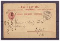 Schweiz, Ganzsache Biel | Bienne nach Erfurt 18.11.1879