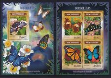 Mozambique 2014 Butterflies / Insects Borboletas Flowers Plants stamps MNH** BR