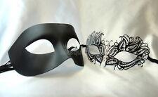 Black White Couple Masquerade Mask Wedding Costume Prom Bachelor Black Tie party
