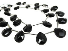 Black Onyx Beads, Faceted Pear Briolettes, 8mm x 10mm, SKU 4035A