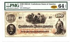 $100 1862-63 Confederate State Of America Pmg 64 Choice Uncirculated Epq- Wow!