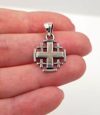 925 Sterling Silver Jerusalem Cross Pendant Charm From Holy Land w/ Certificate
