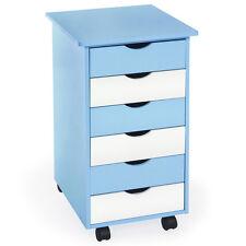 Cómoda para niños cajones contenedor con ruedas armario carrito azul/blanco