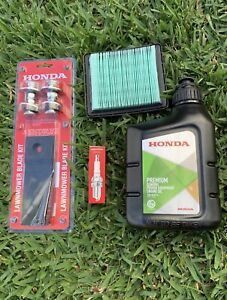 "GENUINE HONDA SERVICE KIT BLADES OIL AIR FILTER SPARK PLUG HRU19 HRU197 19"""