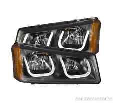 Black Clear U-Bar Crystal Headlights fits 03-06 Silverado/Avalanche Anzo 111312