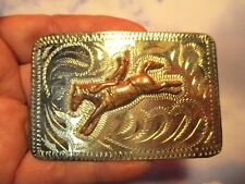 1970's Hand Made unused Roughstock Riding Cowboy Bucking Horse Belt Buckle