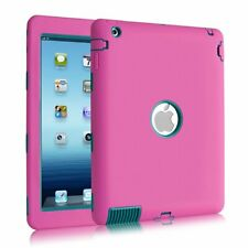 "Shockproof Heavy Duty Rubber Tough Case Cover for 9.7"" Apple iPad 4 3 2, Pink"