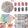 24 Sheets DIY Nail Art Transfer Stickers 3D Manicure Tips Decal Decorations Tool