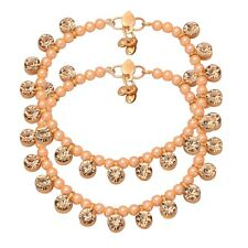 Indian Faux  Pearls Gold Stone Bollywood Traditional Payal Anklet Women Jewelry