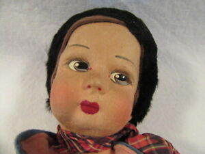 Chad Valley England Hygienic Toys Boy Dutch Doll Glass Eyes Felt 14-1/2""