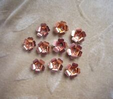 40 vintage metal  flower beads, copper, 13m