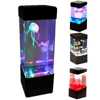 New Relaxing Bedside Mood Lamp Volcano Water Aquarium Fish Tank LED Light js
