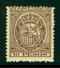 Spanish PHILIPPINES 1895 TELEGRAPHS  10pesos brown violet  Yv# 68 mint MH scarce