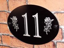 Engraved Personalised Modern House Number Door Gate Wall Sign Plaque Rose Flower