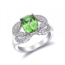 Natural Grossular Garnet 3.37 carats set in 18K White Gold Ring with Diamonds