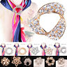 Silver Gold Crystal Silk Scarf Clip Buckle Holder Brooch Pins Jewelry Gift CC