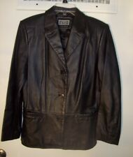 Clio Size S Lined Leather Coat Jacket Womens Black Button Closure