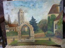 PEINTURE SENLIS-Jardins l'Evéché-huile sur toile -datée 1956-M. BERNOT ou BERMOT