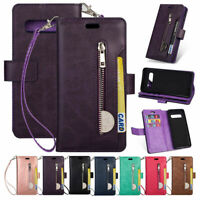 For Samsung Galaxy S10+ Plus S10e Leather Zipper Wallet Case Cards Stand Cover