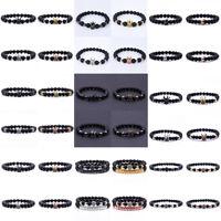 Luxury Men's Crown Natural Stone Matte Black Charm Copper Bead Fashion Bracelets
