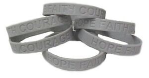 Gray Awareness Bracelets 6 Piece Lot Silicone Wristband Cancer Cause Silver New