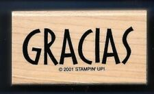 GRACIAS Spanish THANK YOU card gift tag words Stampin Up! 2001 RUBBER STAMP