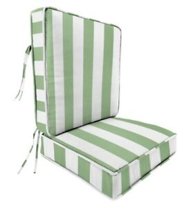 Green Aloe Striped Outdoor 2pc Seat Cushions m12