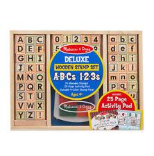Melissa & Doug Deluxe Wooden Stamp Set - ABCs 123s #30118