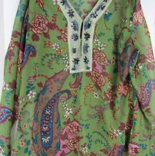 woman's long sleeve blouse pull over olive green paisley burgundy flowers leaves
