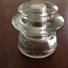 Clear WHITALL TATUM No. 15 Antique Glass Telegraph Insulator Vintage