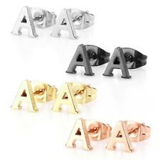 Stainless Steel Alphabet Letter Initial Stud Earrings Hypoallergenic Yellow G...