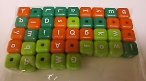 """Craft Block Letters Lot Of 41 Pieces Green Red 1"""" Cube Bead Large Plastic"""