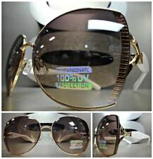 CLASSIC VINTAGE RETRO Style SUN GLASSES BOLD FASHION Unique Gold & White Frame