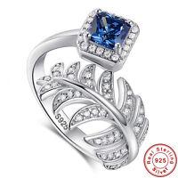 Asscher Cut Sapphire 100% S925 Sterling Gemstone Silver Ring  Size L½ N½ P½ R½