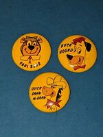 1961 vintage set 3 Hanna Barbera Pin Buttons Yogi Bear, Huck Hound, Draw McGraw